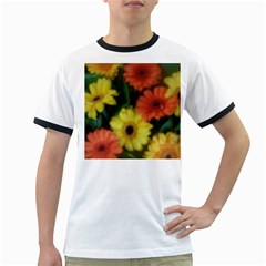 Orange Yellow Daisy Flowers Gerbera Men s Ringer T Shirt