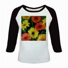 Orange Yellow Daisy Flowers Gerbera Kids Long Cap Sleeve T Shirt