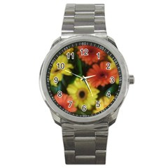 Orange Yellow Daisy Flowers Gerbera Sport Metal Watch