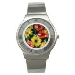 Orange Yellow Daisy Flowers Gerbera Stainless Steel Watch (slim)