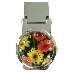 Orange Yellow Daisy Flowers Gerbera Money Clip With Watch