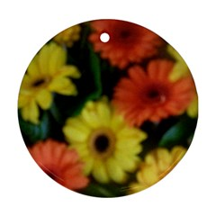 Orange Yellow Daisy Flowers Gerbera Round Ornament (two Sides) by yoursparklingshop