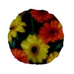 Orange Yellow Daisy Flowers Gerbera Standard 15  Premium Round Cushion  by yoursparklingshop