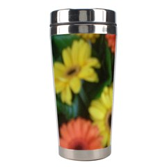 Orange Yellow Daisy Flowers Gerbera Stainless Steel Travel Tumbler by yoursparklingshop