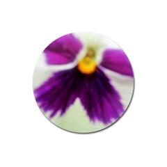 Inside Purple White Violet Flower Magnet 3  (round)
