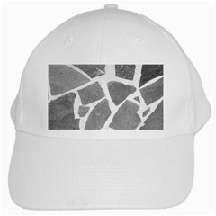 Grey White Tiles Pattern White Baseball Cap