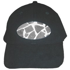 Grey White Tiles Pattern Black Baseball Cap