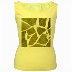 Grey White Tiles Pattern Women s Tank Top (yellow)