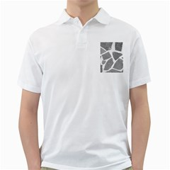 Grey White Tiles Pattern Men s Polo Shirt (white)