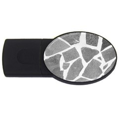 Grey White Tiles Pattern 2gb Usb Flash Drive (oval) by yoursparklingshop