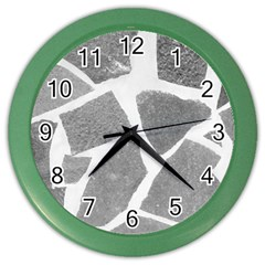 Grey White Tiles Pattern Wall Clock (color) by yoursparklingshop