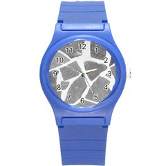 Grey White Tiles Pattern Plastic Sport Watch (small)