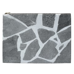 Grey White Tiles Pattern Cosmetic Bag (xxl)