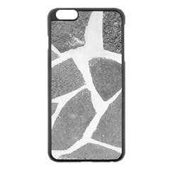Grey White Tiles Pattern Apple Iphone 6 Plus Black Enamel Case