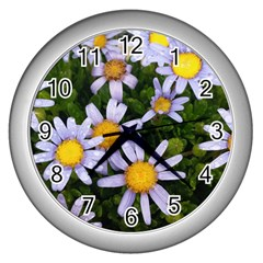 Yellow White Daisy Flowers Wall Clock (silver) by yoursparklingshop