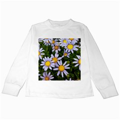 Yellow White Daisy Flowers Kids Long Sleeve T Shirt by yoursparklingshop
