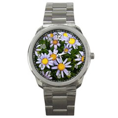 Yellow White Daisy Flowers Sport Metal Watch by yoursparklingshop