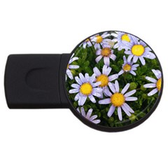 Yellow White Daisy Flowers 4GB USB Flash Drive (Round) by yoursparklingshop