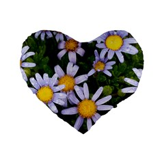 Yellow White Daisy Flowers Standard 16  Premium Heart Shape Cushion  by yoursparklingshop