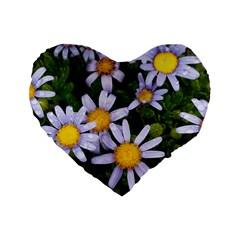 Yellow White Daisy Flowers Standard 16  Premium Flano Heart Shape Cushion