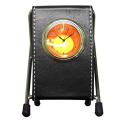 Orange Yellow Flame 5000 Stationery Holder Clock by yoursparklingshop