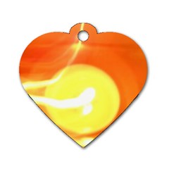 Orange Yellow Flame 5000 Dog Tag Heart (one Sided)  by yoursparklingshop