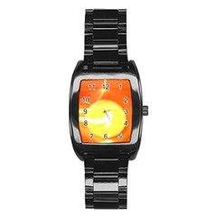Orange Yellow Flame 5000 Stainless Steel Barrel Watch by yoursparklingshop