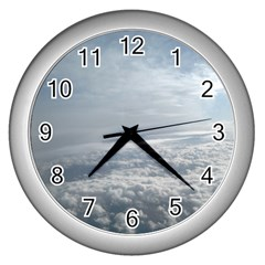 Sky Plane View Wall Clock (silver)