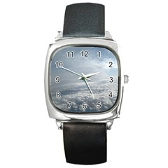 Sky Plane View Square Leather Watch