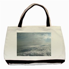 Sky Plane View Twin Sided Black Tote Bag