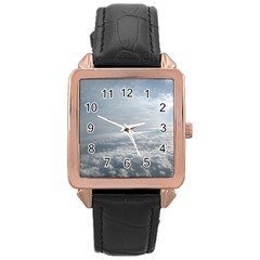 Sky Plane View Rose Gold Leather Watch  by yoursparklingshop