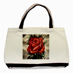 Red Rose Twin Sided Black Tote Bag by ArtByThree