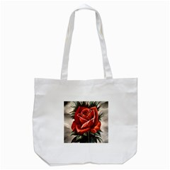 Red Rose Tote Bag (white) by ArtByThree