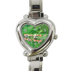 Flamingo Birds At Lake Heart Italian Charm Watch  by yoursparklingshop