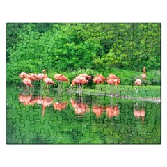 Flamingo Birds At Lake Jigsaw Puzzle (rectangle) by yoursparklingshop