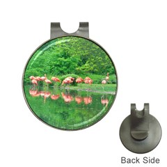 Flamingo Birds At Lake Hat Clip With Golf Ball Marker by yoursparklingshop