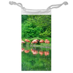 Flamingo Birds At Lake Jewelry Bag by yoursparklingshop