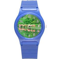 Flamingo Birds At Lake Plastic Sport Watch (small) by yoursparklingshop