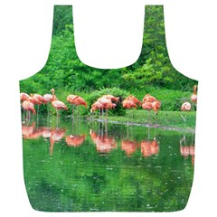 Flamingo Birds At Lake Reusable Bag (xl) by yoursparklingshop