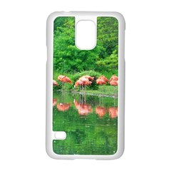 Flamingo Birds At Lake Samsung Galaxy S5 Case (white) by yoursparklingshop
