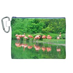 Flamingo Birds At Lake Canvas Cosmetic Bag (xl) by yoursparklingshop