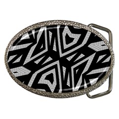 Geometric Tribal Print Belt Buckle (oval) by dflcprintsclothing