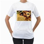 Mardi Gras Ladies T-shirt LARGE - Women s T-Shirt (White) (Two Sided)