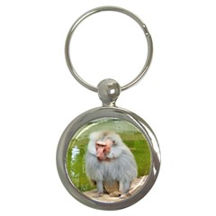 Grey Monkey Macaque Key Chain (round) by yoursparklingshop