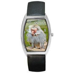 Grey Monkey Macaque Tonneau Leather Watch by yoursparklingshop