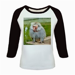 Grey Monkey Macaque Kids Long Cap Sleeve T Shirt by yoursparklingshop