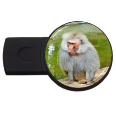 Grey Monkey Macaque 4gb Usb Flash Drive (round)