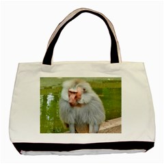 Grey Monkey Macaque Twin Sided Black Tote Bag