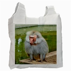 Grey Monkey Macaque White Reusable Bag (one Side)
