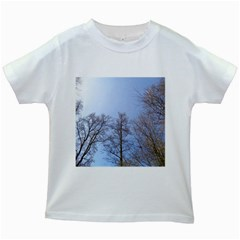 Large Trees In Sky Kids T Shirt (white)